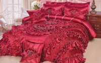 *$ DaDa Bedding Red Queen Sateen Comforter Set King ...