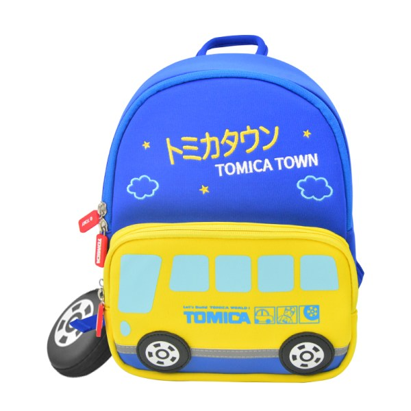 "11"" in Yellow Blue Bottom TOMICA Cartoon School Bus Vehicle Pattern Kid & Children, Girl & Boy Waterproof Backpack School Bag With Wheel Style Coin Purse"