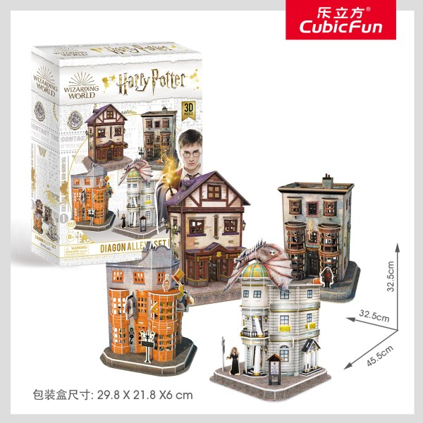 Harry Potter Diagon Alley Paper Jigsaw Puzzle, Weasley's Wizard Wheezes, Quality Quidditch Supplies, Ollivanders Wand Shop, Gringotts Bank. Harry Potter movie scene, Harry Potter cosplay, Decorate the room, harry potter and the philosopher's stone