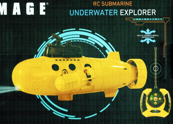 SHARPER IMAGE RC Submarine Underwater Explorer. (Big Tellow Electric Radio Remote Control Submarine Toy, Play in the water in pool & pond & swimming pool)
