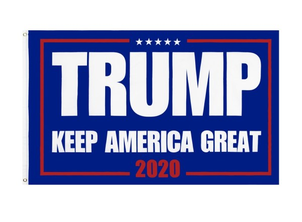 """""""TRUMP KEEP AMERICA GREAT 2020"""" Donald Trump 2020 Presidential Campaign Flag, Trump Campaign Slogan & Logos & Poster & ads & Banners. (3FT x 5FT, 90cm x 150cm, 35in x 59in) Blue Background, White Text, White Stars, Red 2020 And Wireframe"""