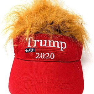 Trump 2020 Campaign Hat, Donald Trump 2020 Presidential Campaign Baseball Cap. Red Empty Top Hat, Embroidery with Iconic Trump-style Yellow Wig, Summer Outdoor Sun Hat Golf Tennis Beach Sunscreen Cap.