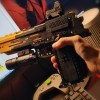 """""""Flame"""" Tattoo 1:1 Scale Model Pistol, DIY Custom Bricks Assembled Building Blocks Desert Eagle, Very Cool Works Like Real Gun, Safe Toy Gun. Load the clip, load the bullet, and shoot. (the clip has a capacity of 10 building block bullets)"""