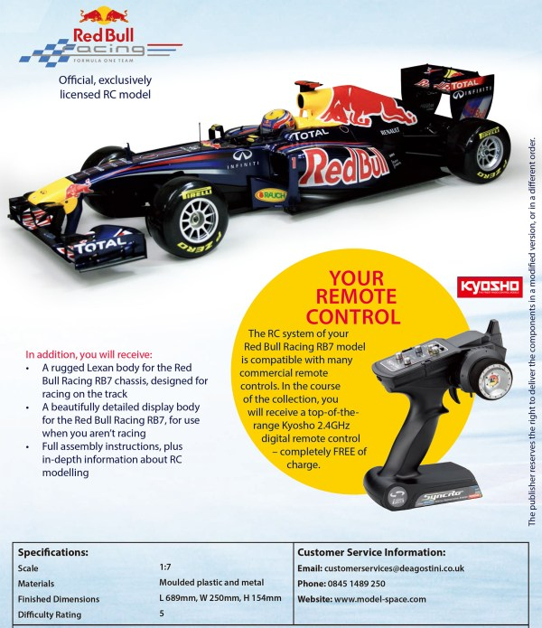 RADIO REMOTE CONTROLLED. BUILD IT YOURSELF. NITRO ENGINE. Red Bull – F1 Racing Team RB7. Kyosho F1 RB7 Gas Powered RC Racing Car (De Agostini Model Space 1/7 Scale Red Bull – F1 RB7 Model Kits)