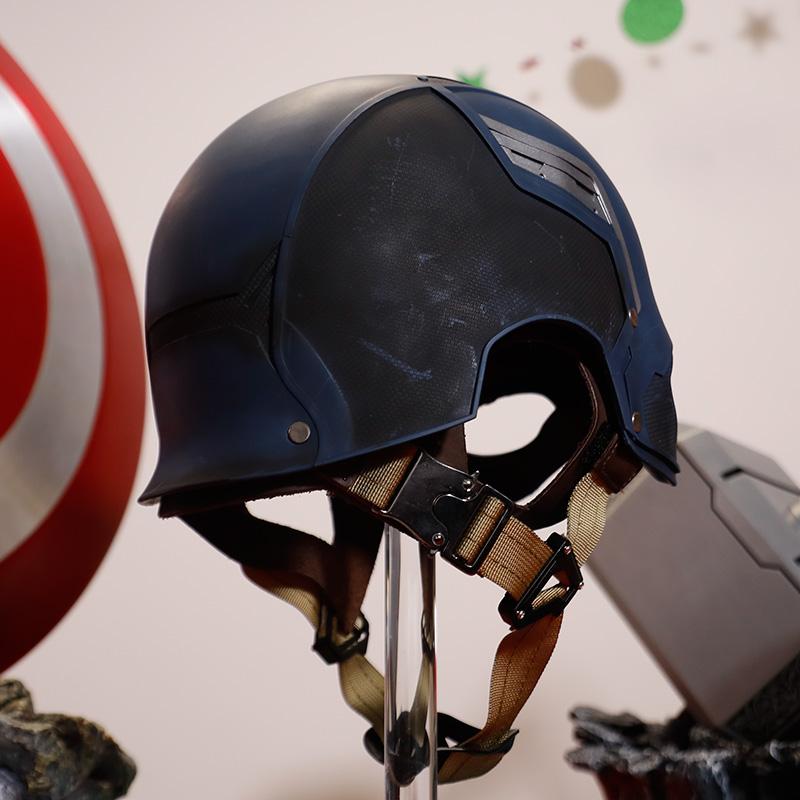 1:1 Captain America helmet detailed replica, Captain Blue Cosplay Hat, Mask Helmet Cosplay Props, Marvel Avengers Captain America 3 Civil War Cosplay Men's Captain America Full Mask