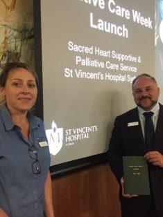 Clinical Nurse Consultant Liz Davis with St Vincents CEO, Anthony Schembri promote Palliative Care Week