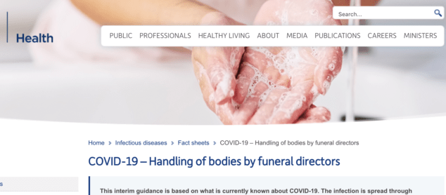 Covid-19 - Handling of bodies by funeral directors