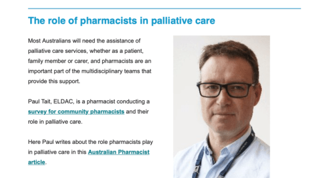 Pharmacists and palliative care