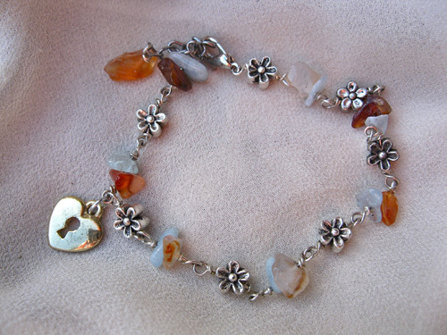 Love lock bracelet aquamarine