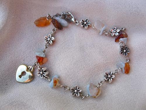 Love lock bracelet aquamarine