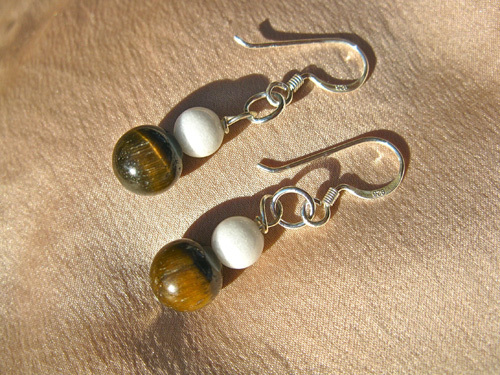 Tigers Eye earrings silver