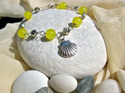 Scallop shell bracelet citrine