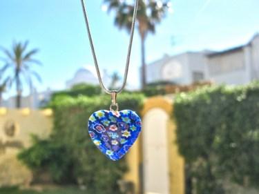 Heart pendant blue glass