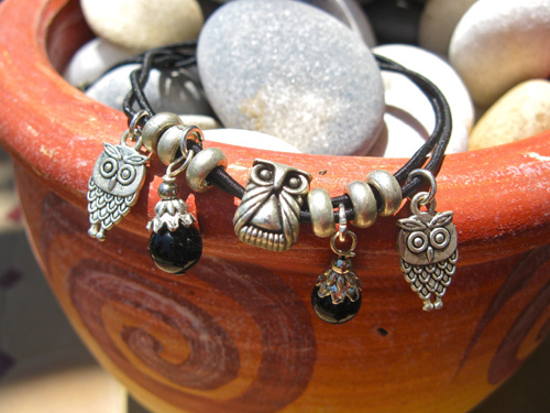 Guardian owl anklet with gemstones