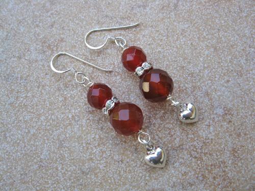 Carnelian Heart earrings