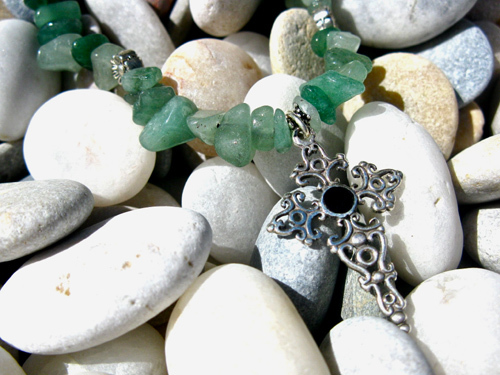 Cross of St James necklace aventurine