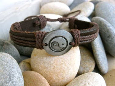 Yin Yang leather bracelet