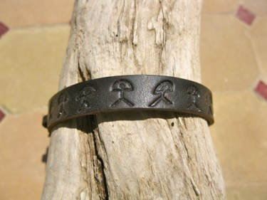 Black leather bracelet Indalo
