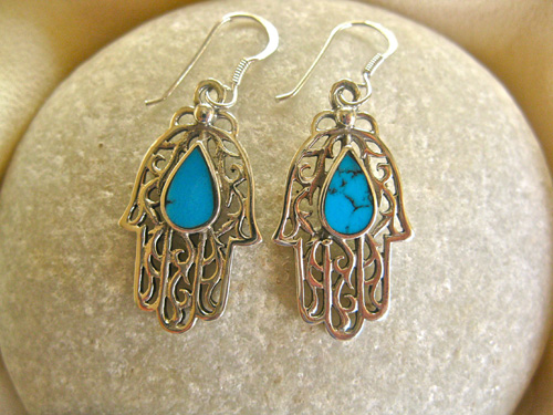 Hamsa earrings in our shop - in turqoise and sterling silver