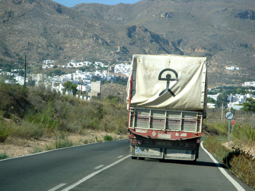 Indalo symbol on truck
