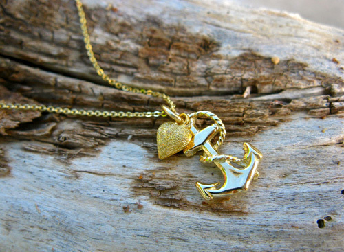 Anchor necklace gold heart
