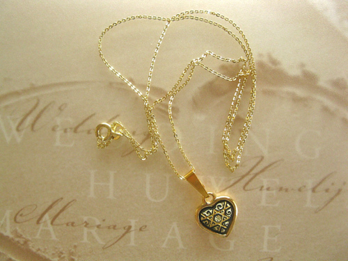 Damascene heart necklace