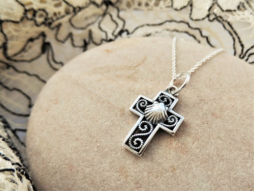 Filigree cross with shell
