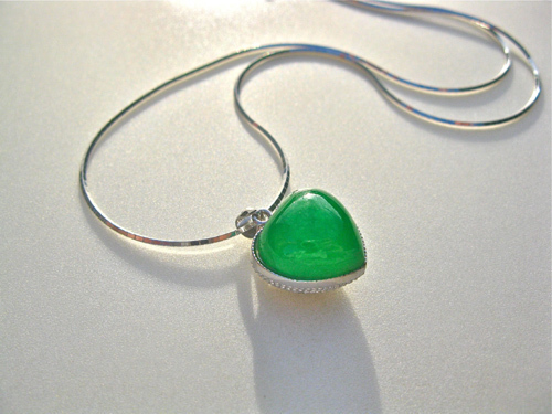 Green jade heart necklace