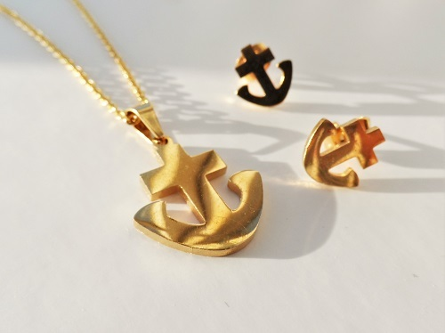 Lucky charm anchor earrings and necklace