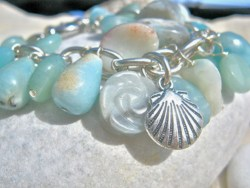 Shell charm bracelet ft Amazonite
