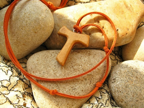 Tau cross necklace wood