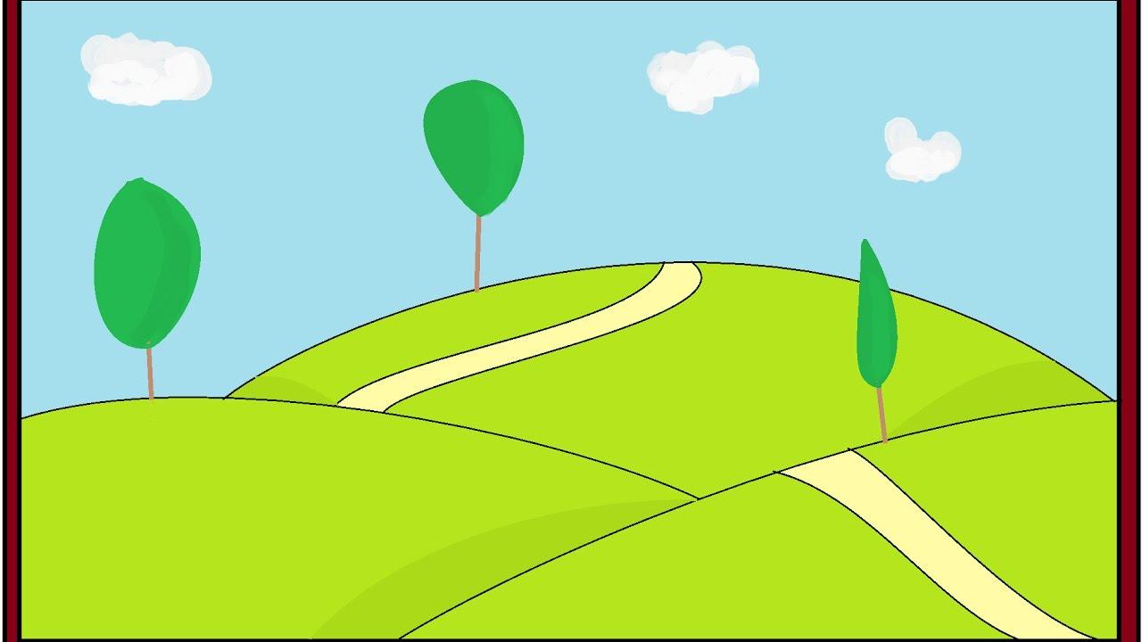 رسم منظر طبيعي سهل للاطفال صور رسومات بسيطة لتعليم الطفل صباح الورد