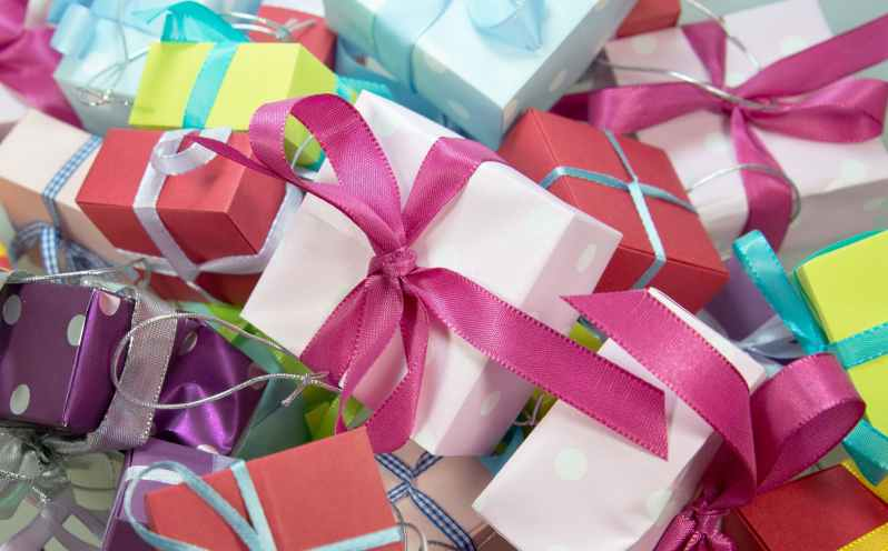 assorted colored gift boxes