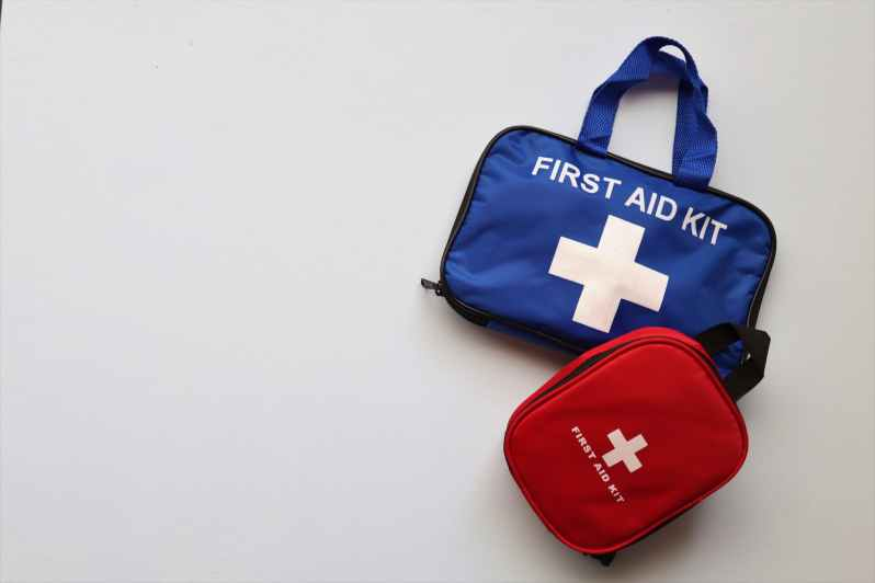 first aid kits on white background