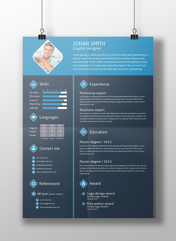 Free 3 Color Flat Resume Template  Cover Letter For