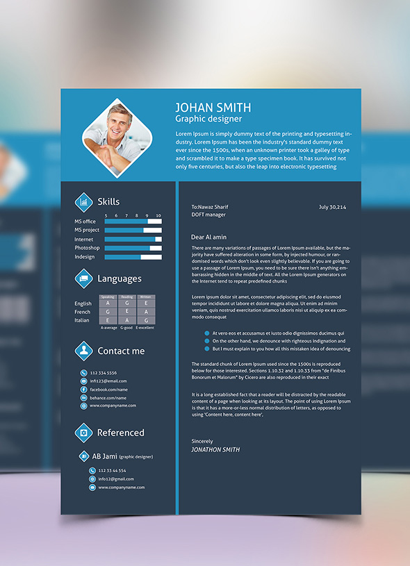 Free 3 Color Flat Resume Template & Cover Letter For