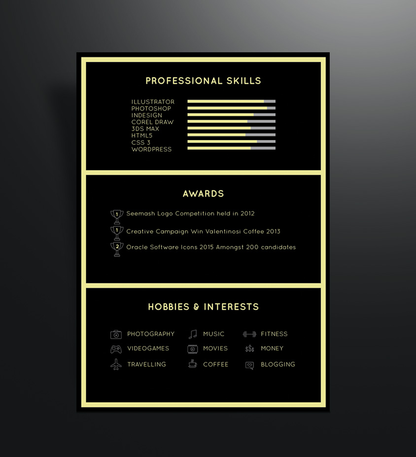 Free Black Elegant Resume CV Design Template for Art Director  Photographer  Good Resume