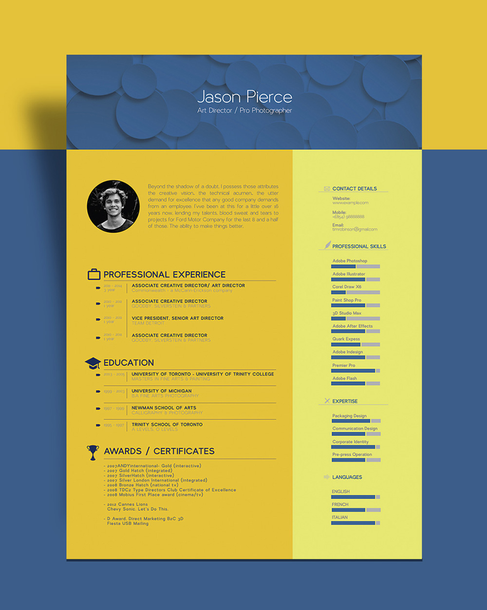 Free Beautiful Resume CV Template For Graphic Designer Art Director Good Resume