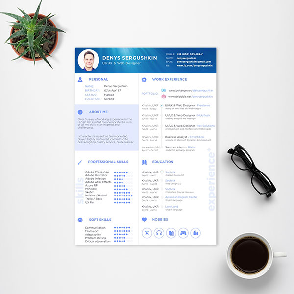 Free Resume Template For UI,UX & Web Designers - Good Resume