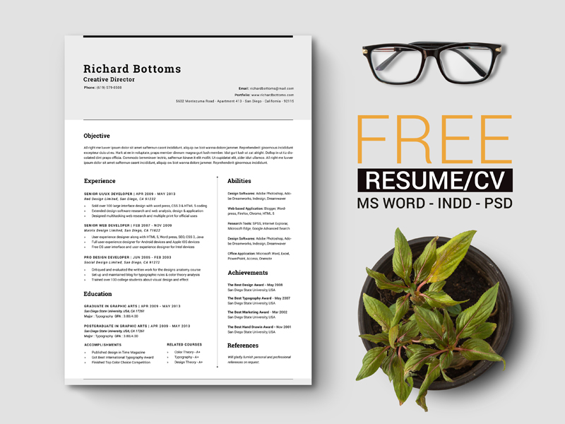Free Simple Resume Template with Cover Letter For Creative Director ...
