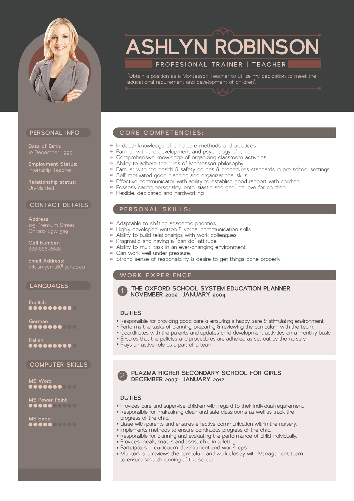 Free Resume CV Design Template for Trainers  Teachers  Good Resume