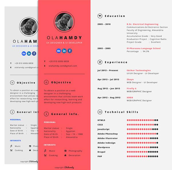 ux designer cv template