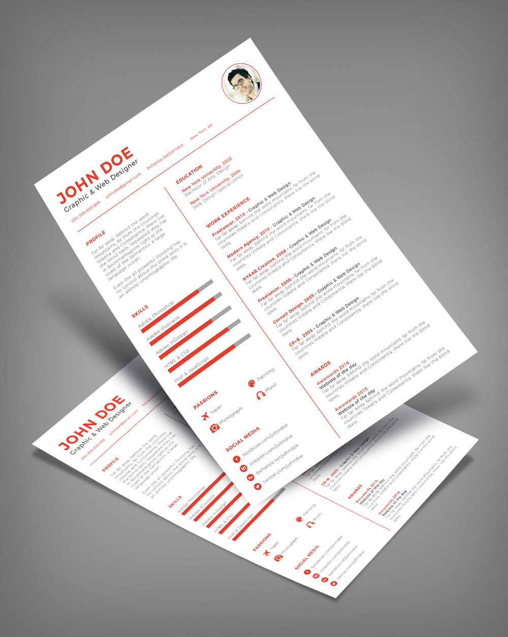 Free Clean  Minimal Resume CV Design Template Ai File