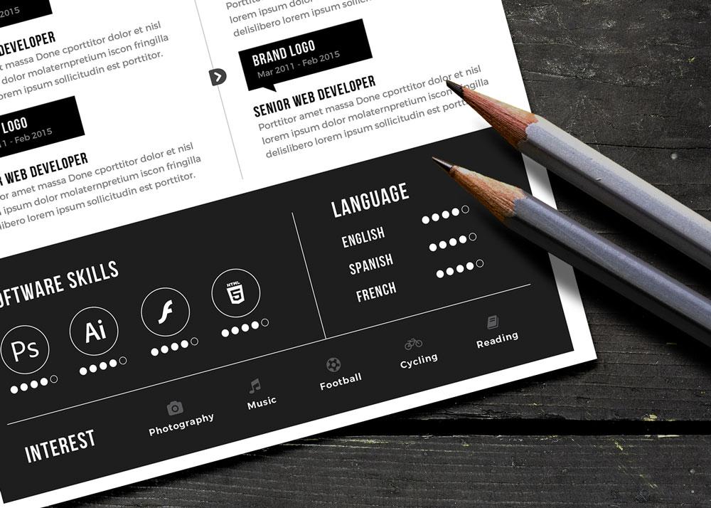 Free Black Landscape Resume CV Design Template PSD File