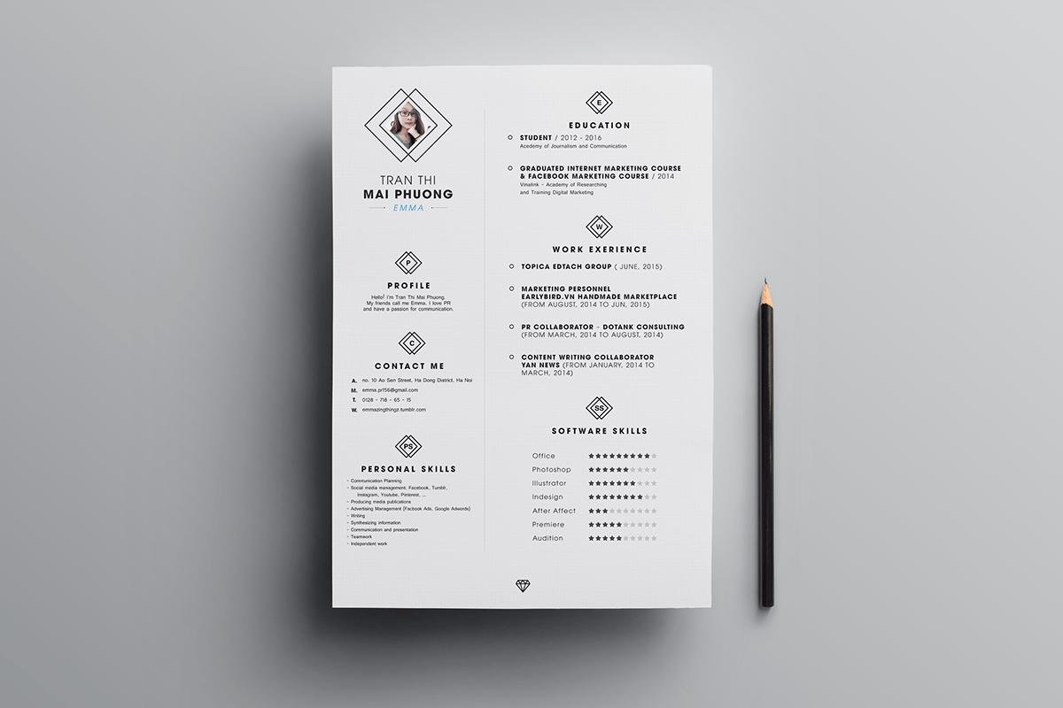 Free Clean Resume CV Design Template PSD File  Good Resume