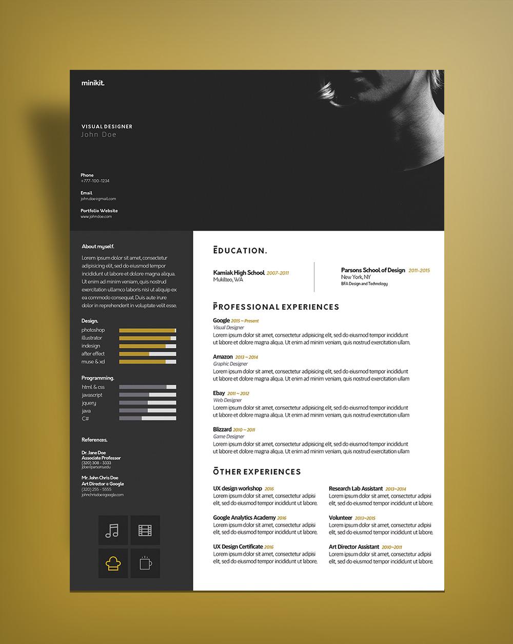 Free Curriculum Vitae CV Design Template For Designers