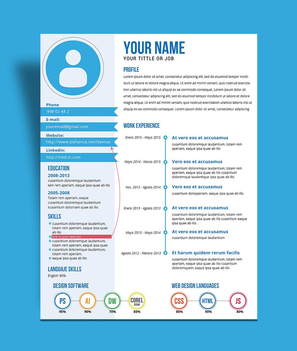 Free Fresh Creative Resume CV Template Design Ai File  Good Resume