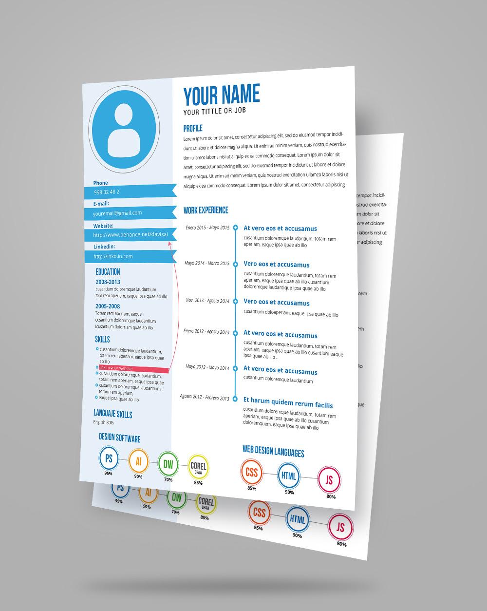 Free Fresh Creative Resume CV Template Design Ai File