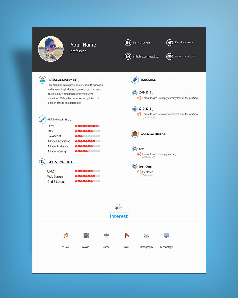 Free Minimal & Clean Resume Template PSD File Good Resume