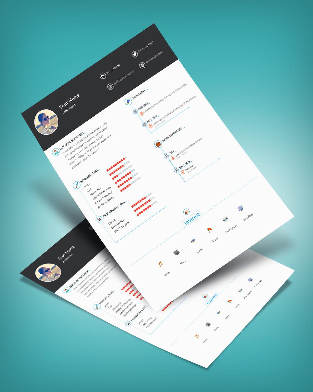Free Minimal  Clean Resume Template PSD File  Good Resume